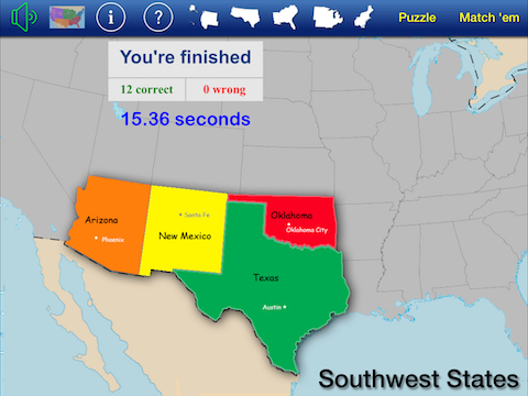 US States & Capitals Puzzle Match | Classroom Focused Software